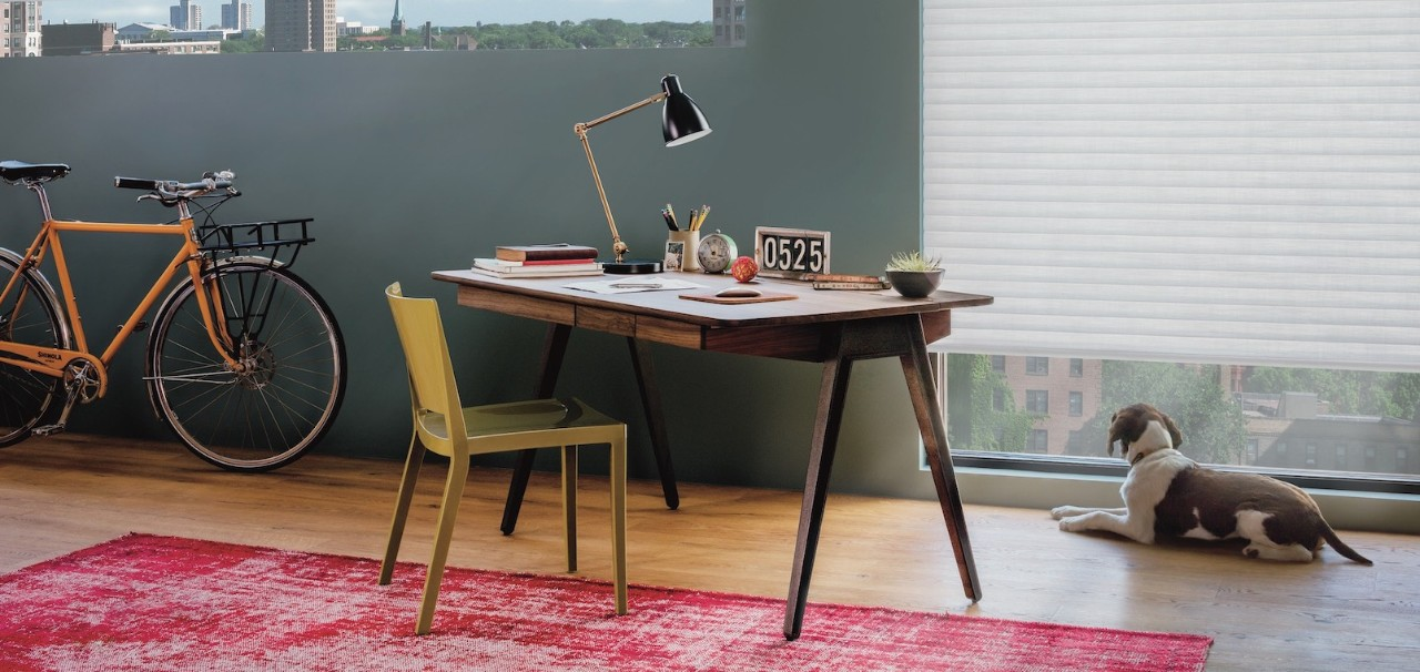 A room with a well-organized desk.
